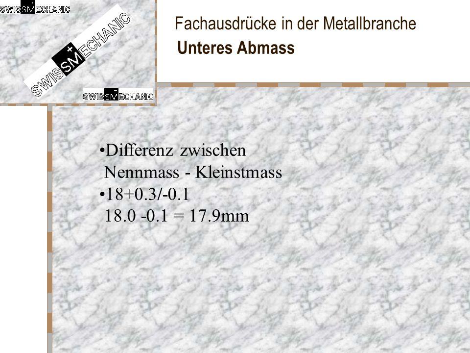 Fachausdrücke in der Metallbranche Unteres Abmass Differenz zwischen Nennmass - Kleinstmass 18+0.3/-0.1 18.0 -0.1 = 17.9mm