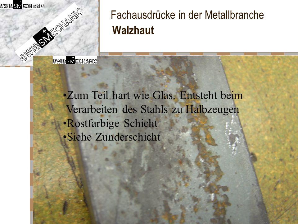 Fachausdrücke in der Metallbranche Walzhaut Zum Teil hart wie Glas. Entsteht beim Verarbeiten des Stahls zu Halbzeugen Rostfarbige Schicht Siehe Zunde