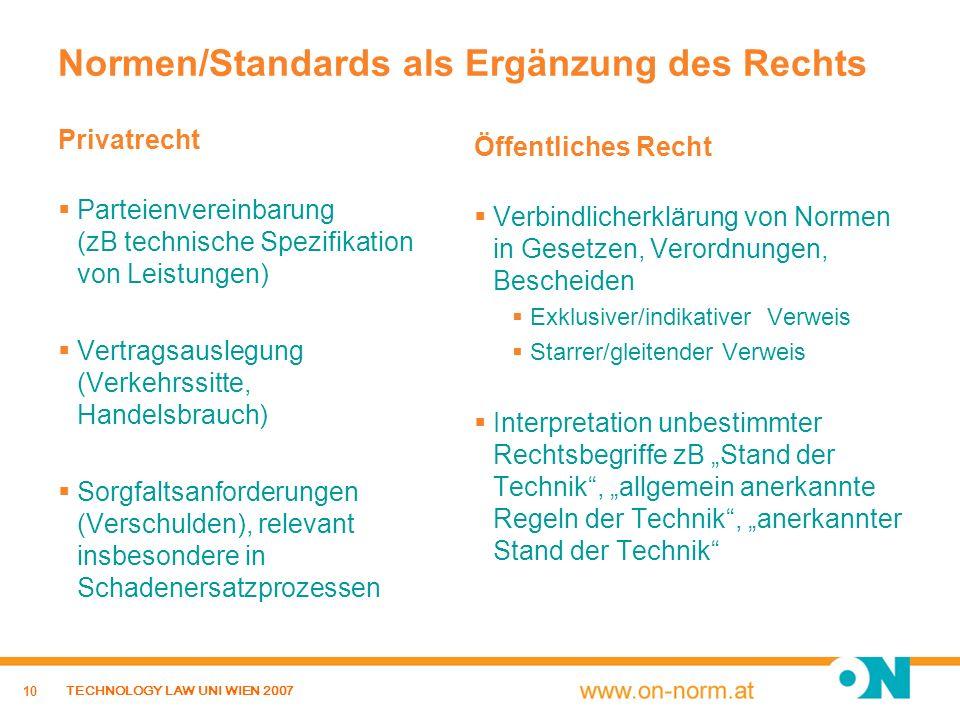 10 TECHNOLOGY LAW UNI WIEN 2007 Normen/Standards als Ergänzung des Rechts Privatrecht Parteienvereinbarung (zB technische Spezifikation von Leistungen