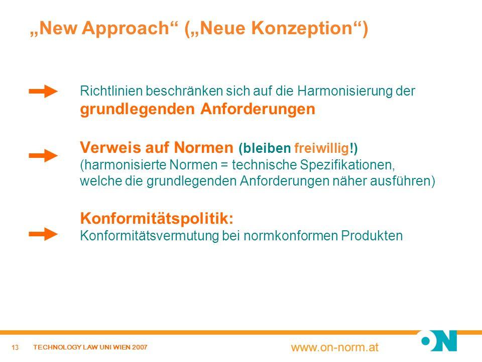 13 TECHNOLOGY LAW UNI WIEN 2007 Richtlinien beschränken sich auf die Harmonisierung der grundlegenden Anforderungen Verweis auf Normen (bleiben freiwi
