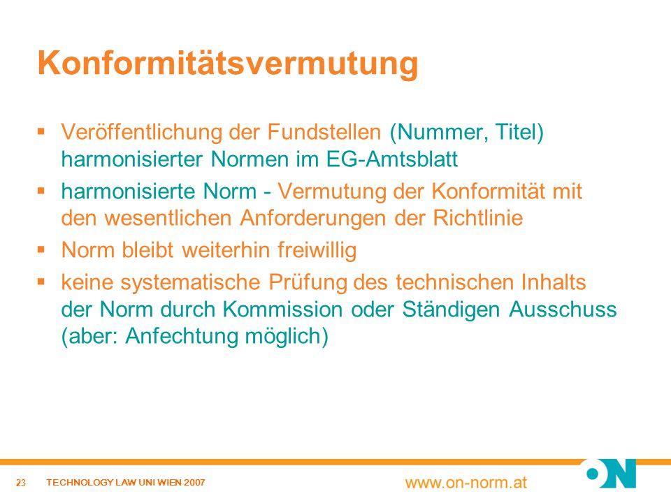 23 TECHNOLOGY LAW UNI WIEN 2007 Konformitätsvermutung Veröffentlichung der Fundstellen (Nummer, Titel) harmonisierter Normen im EG-Amtsblatt harmonisi