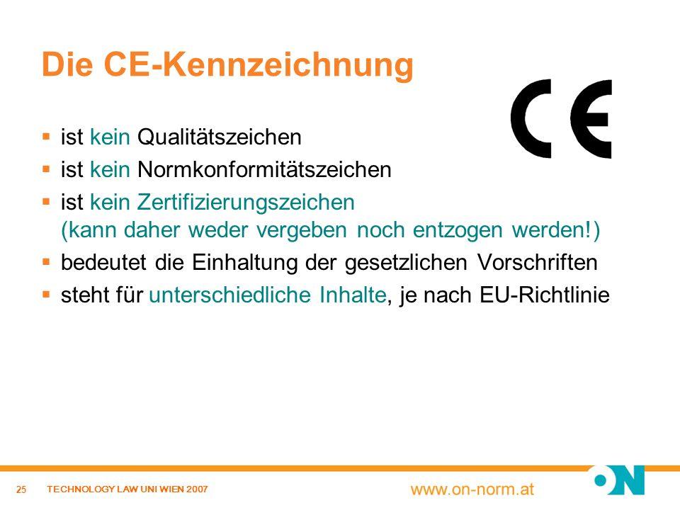 25 TECHNOLOGY LAW UNI WIEN 2007 Die CE-Kennzeichnung ist kein Qualitätszeichen ist kein Normkonformitätszeichen ist kein Zertifizierungszeichen (kann