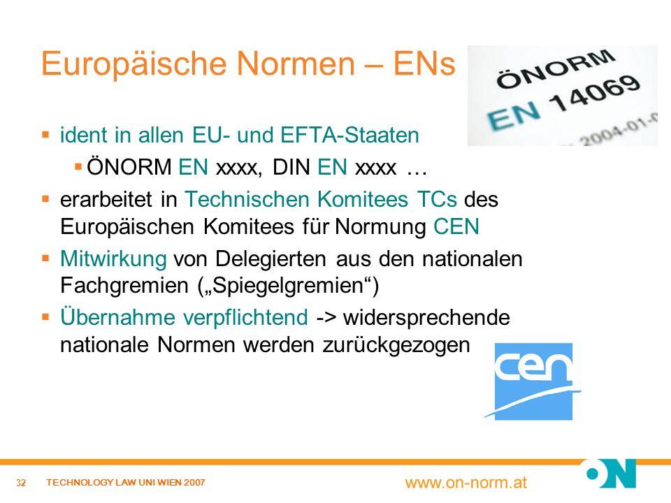 32 TECHNOLOGY LAW UNI WIEN 2007 Europäische Normen – ENs ident in allen EU- und EFTA-Staaten ÖNORM EN xxxx, DIN EN xxxx … erarbeitet in Technischen Ko