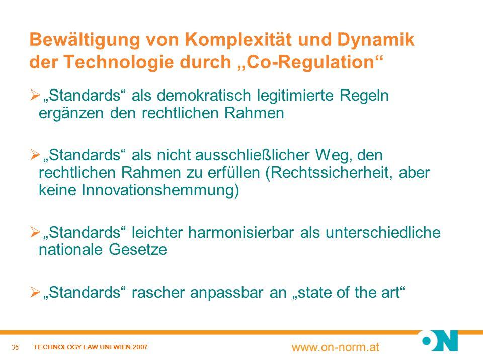 35 TECHNOLOGY LAW UNI WIEN 2007 Bewältigung von Komplexität und Dynamik der Technologie durch Co-Regulation Standards als demokratisch legitimierte Re