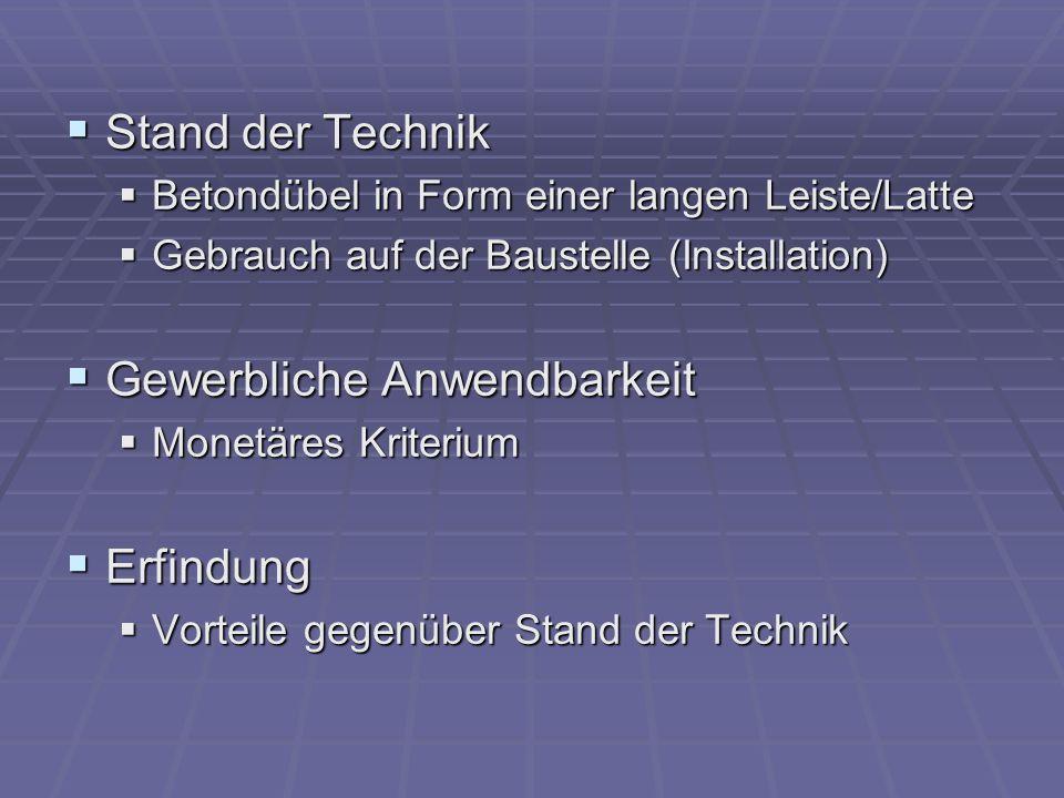 Stand der Technik Stand der Technik Betondübel in Form einer langen Leiste/Latte Betondübel in Form einer langen Leiste/Latte Gebrauch auf der Baustel