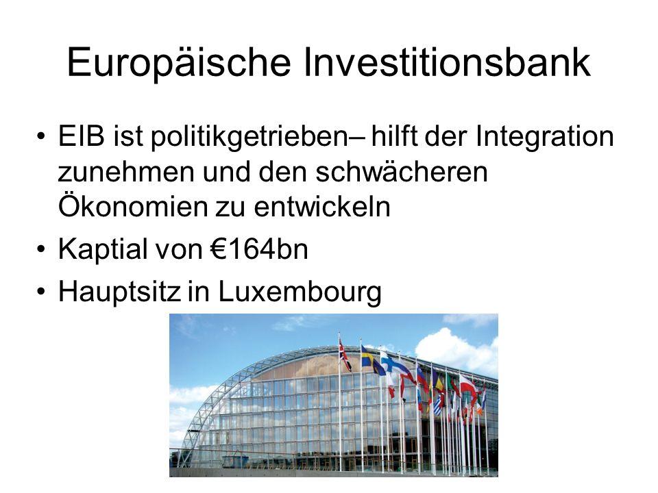 Europäische Investitionsbank EIB ist politikgetrieben– hilft der Integration zunehmen und den schwächeren Ökonomien zu entwickeln Kaptial von 164bn Hauptsitz in Luxembourg