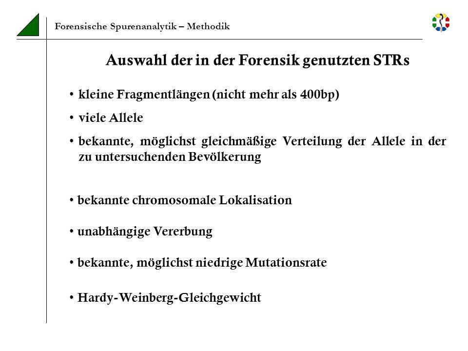Forensische Spurenanalytik – Methodik Sensitivität Theoretisch reicht 1 DNA-Strang für die PCR Der Kern einer diploiden Zelle enthält etwa 6 pg DNA In der Praxis sollten mindestens 30 pg DNA für die Amplifikation der STRs eingesetzt werden (also mindestens 5 Zellen) Optimale DNA-Konzentration : 300 pg – 1 ng