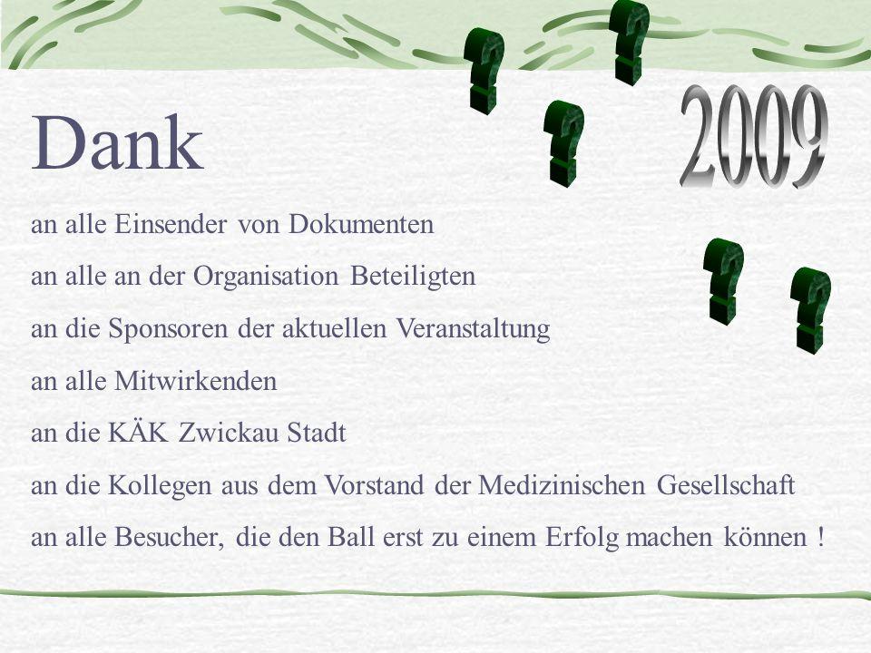 Dank an alle Einsender von Dokumenten an alle an der Organisation Beteiligten an die Sponsoren der aktuellen Veranstaltung an alle Mitwirkenden an die KÄK Zwickau Stadt an die Kollegen aus dem Vorstand der Medizinischen Gesellschaft an alle Besucher, die den Ball erst zu einem Erfolg machen können !