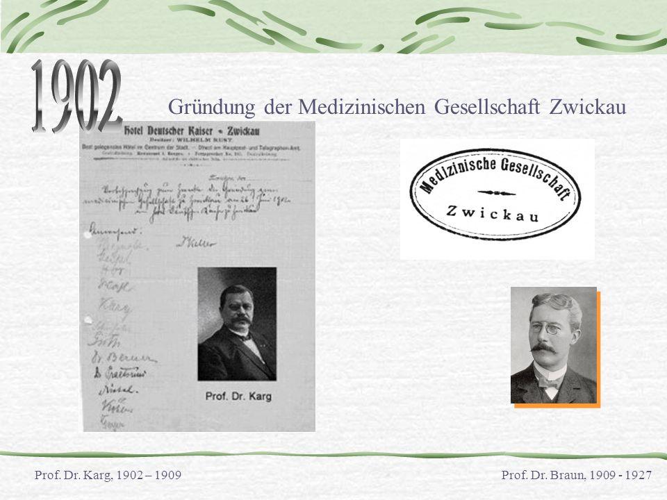 Gründung der Medizinischen Gesellschaft Zwickau Prof. Dr. Karg, 1902 – 1909Prof. Dr. Braun, 1909 - 1927