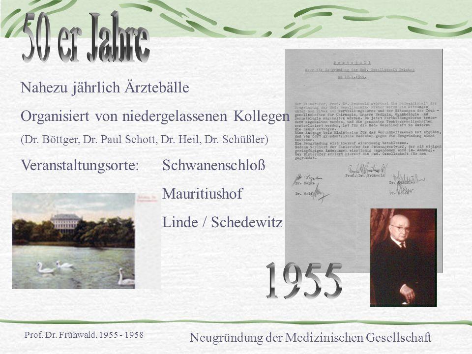 Nahezu jährlich Ärztebälle Organisiert von niedergelassenen Kollegen (Dr. Böttger, Dr. Paul Schott, Dr. Heil, Dr. Schüßler) Veranstaltungsorte:Schwane