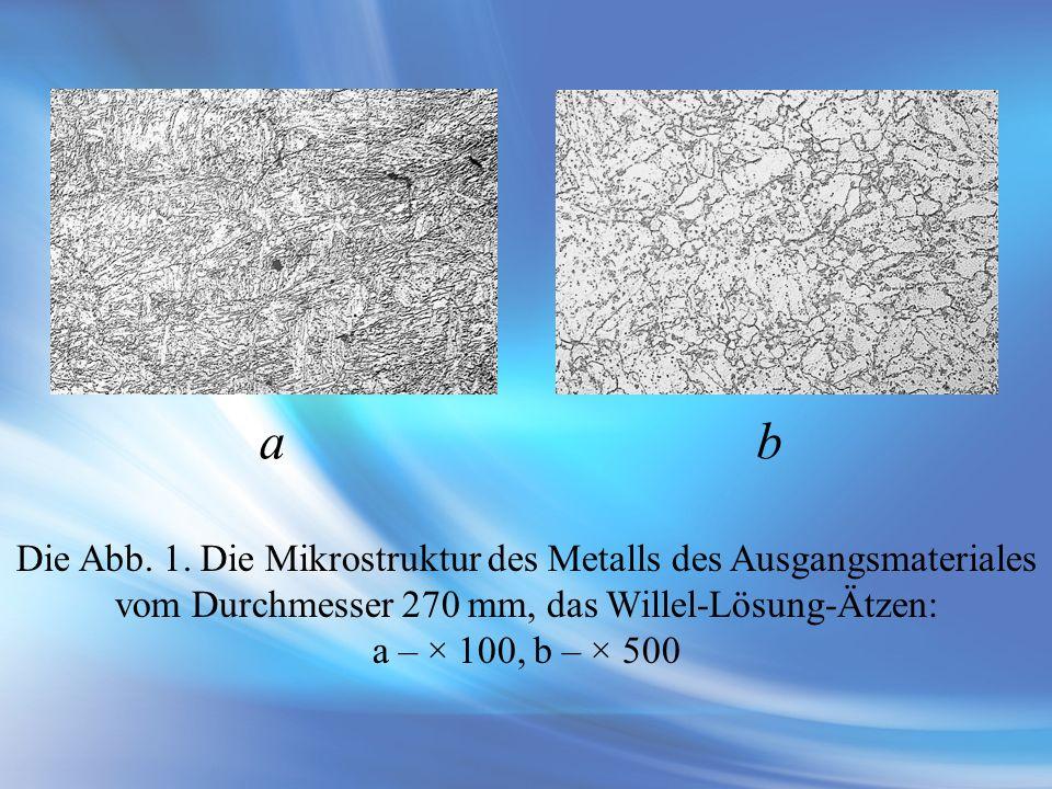 Die Abb. 1. Die Mikrostruktur des Metalls des Ausgangsmateriales vom Durchmesser 270 mm, das Willel-Lösung-Ätzen: a – × 100, b – × 500 ab