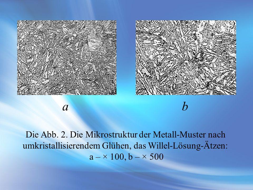 Die Abb. 2. Die Mikrostruktur der Metall-Muster nach umkristallisierendem Glühen, das Willel-Lösung-Ätzen: a – × 100, b – × 500 аb