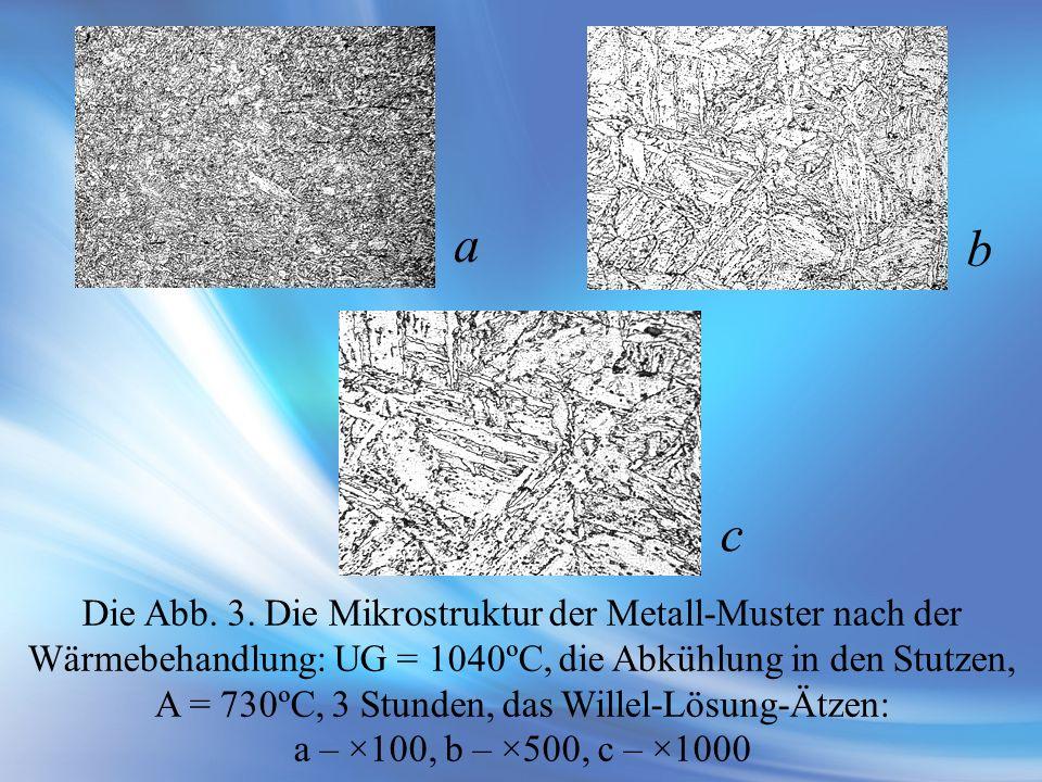 Die Abb. 3. Die Mikrostruktur der Metall-Muster nach der Wärmebehandlung: UG = 1040ºС, die Abkühlung in den Stutzen, A = 730ºС, 3 Stunden, das Willel-