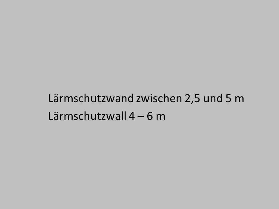 Lärmschutzwand zwischen 2,5 und 5 m Lärmschutzwall 4 – 6 m