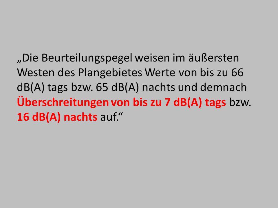 Die Beurteilungspegel weisen im äußersten Westen des Plangebietes Werte von bis zu 66 dB(A) tags bzw. 65 dB(A) nachts und demnach Überschreitungen von