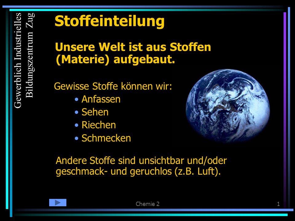 Chemie 21 Unsere Welt ist aus Stoffen (Materie) aufgebaut.