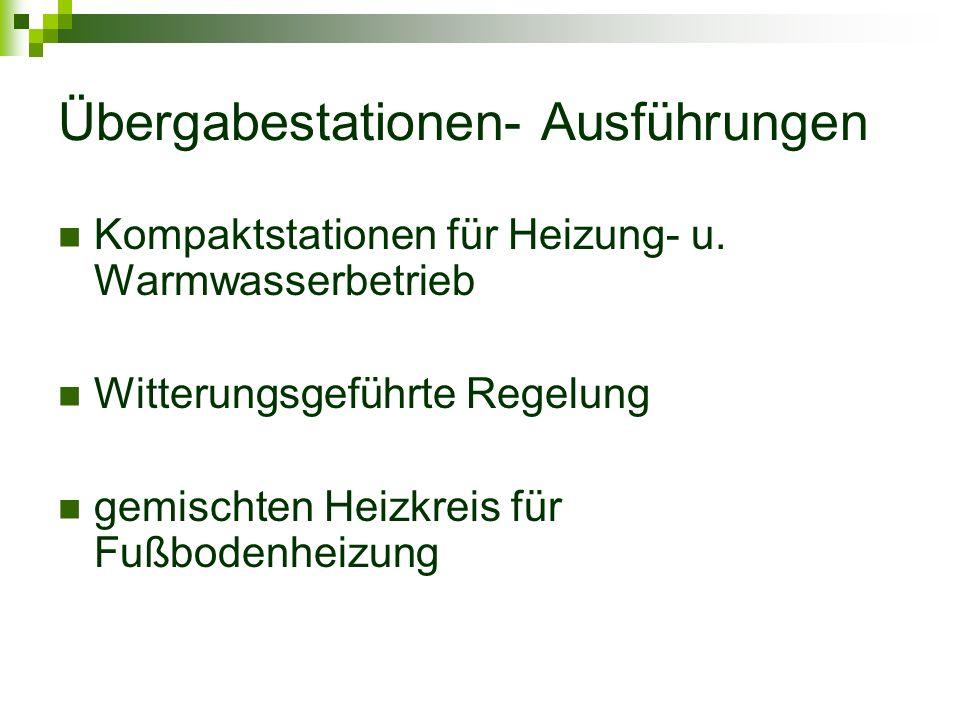 Übergabestationen- Ausführungen Kompaktstationen für Heizung- u.