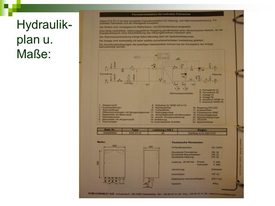 Hydraulik- plan u. Maße: