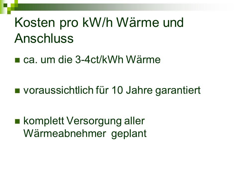 Kosten pro kW/h Wärme und Anschluss ca.
