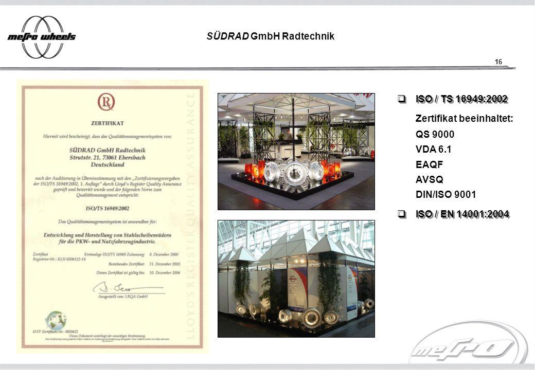 16 SÜDRAD GmbH Radtechnik ISO / TS 16949:2002 ISO / TS 16949:2002 ISO / EN 14001:2004 ISO / EN 14001:2004 Zertifikat beeinhaltet: QS 9000 VDA 6.1 EAQF