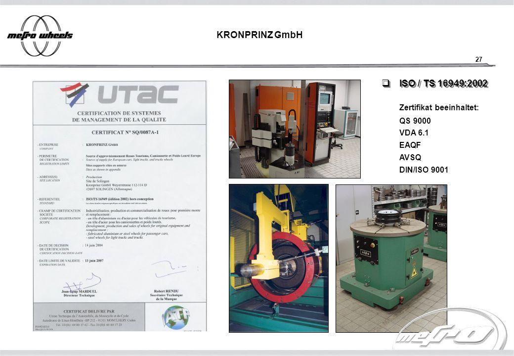 27 KRONPRINZ GmbH ISO / TS 16949:2002 ISO / TS 16949:2002 Zertifikat beeinhaltet: QS 9000 VDA 6.1 EAQF AVSQ DIN/ISO 9001