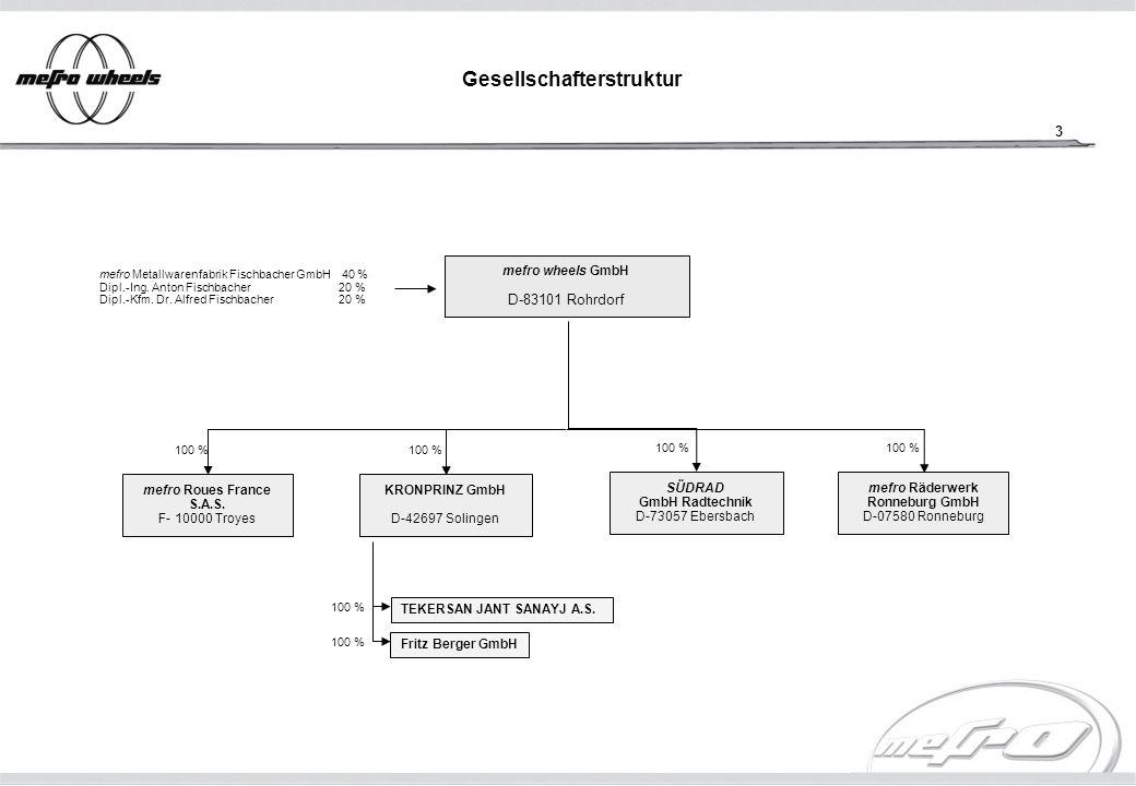 4 1) Zukauf der SÜDRAD GmbH Radtechnik 2) Zukauf der Michelin Wheel Unit Umsatzentwicklung 1990-2006 (gepl.) 1) 2) o konsolidierter Umsatz der mefro wheels GmbH per 31.12.2005: 496.020 TEUR o Gesamtzahl der Beschäftigten per 31.12.2005: 2.888 Mitarbeiter