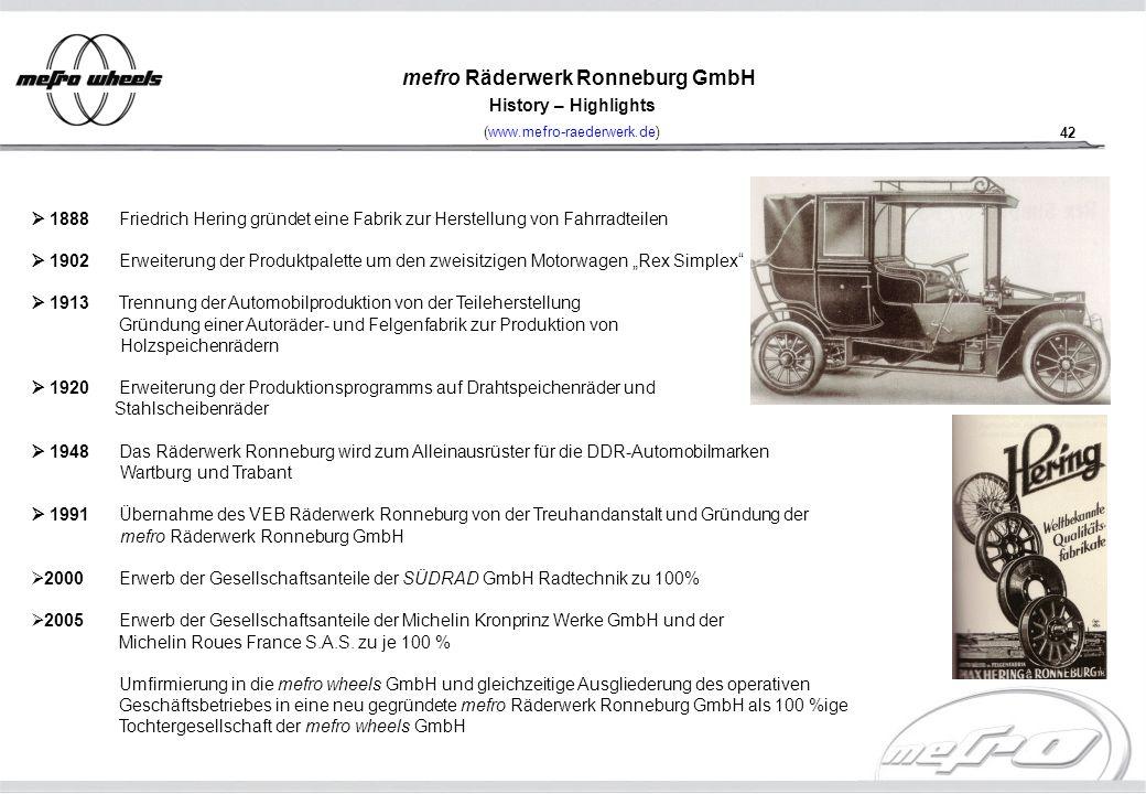 42 mefro Räderwerk Ronneburg GmbH History – Highlights (www.mefro-raederwerk.de) 1888 Friedrich Hering gründet eine Fabrik zur Herstellung von Fahrrad