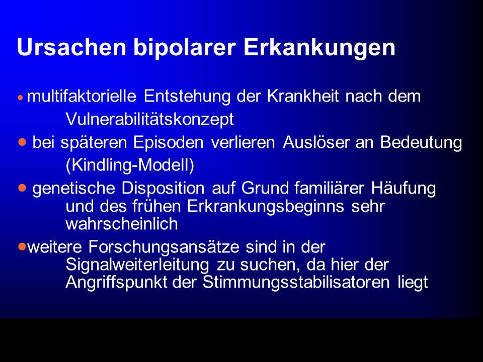 Ursachen bipolarer Erkankungen multifaktorielle Entstehung der Krankheit nach dem Vulnerabilitätskonzept bei späteren Episoden verlieren Auslöser an B