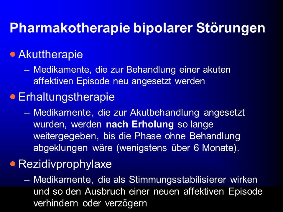 Pharmakotherapie bipolarer Störungen Akuttherapie –Medikamente, die zur Behandlung einer akuten affektiven Episode neu angesetzt werden Erhaltungstherapie –Medikamente, die zur Akutbehandlung angesetzt wurden, werden nach Erholung so lange weitergegeben, bis die Phase ohne Behandlung abgeklungen wäre (wenigstens über 6 Monate).