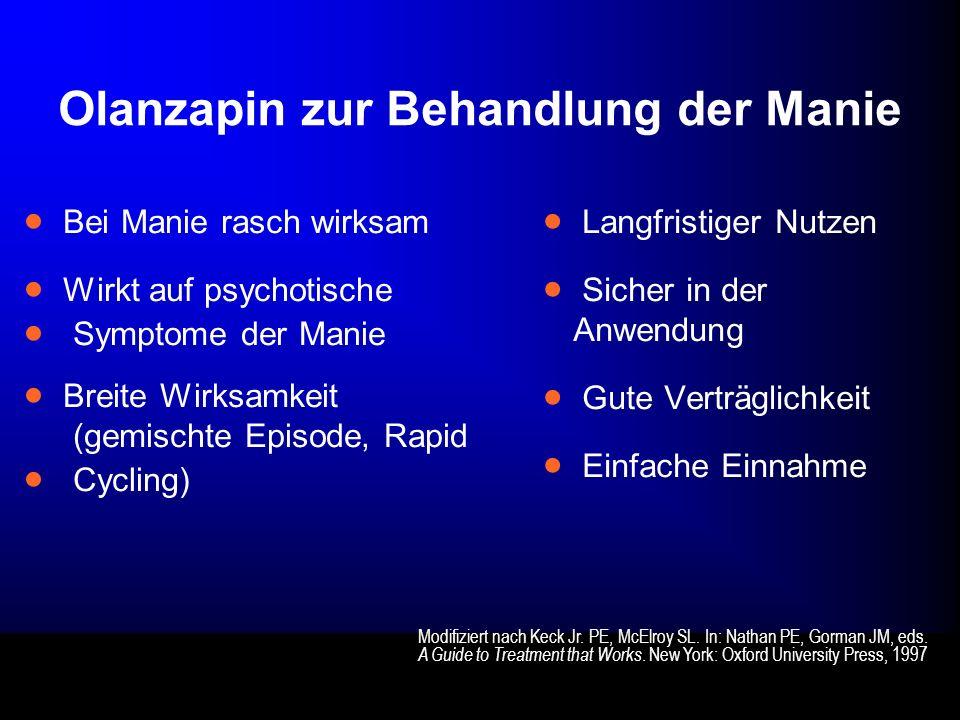 Olanzapin zur Behandlung der Manie Bei Manie rasch wirksam Wirkt auf psychotische Symptome der Manie Breite Wirksamkeit (gemischte Episode, Rapid Cycl
