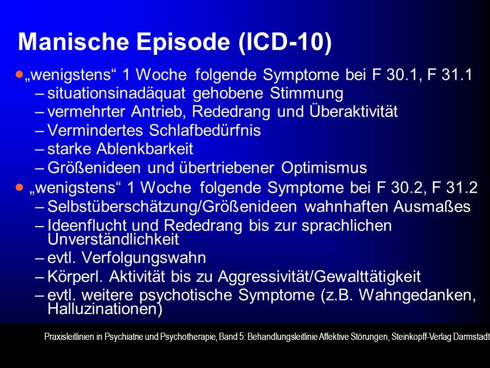 Manische Episode (ICD-10) wenigstens 1 Woche folgende Symptome bei F 30.1, F 31.1 –situationsinadäquat gehobene Stimmung –vermehrter Antrieb, Rededrang und Überaktivität –Vermindertes Schlafbedürfnis –starke Ablenkbarkeit –Größenideen und übertriebener Optimismus wenigstens 1 Woche folgende Symptome bei F 30.2, F 31.2 –Selbstüberschätzung/Größenideen wahnhaften Ausmaßes –Ideenflucht und Rededrang bis zur sprachlichen Unverständlichkeit –evtl.