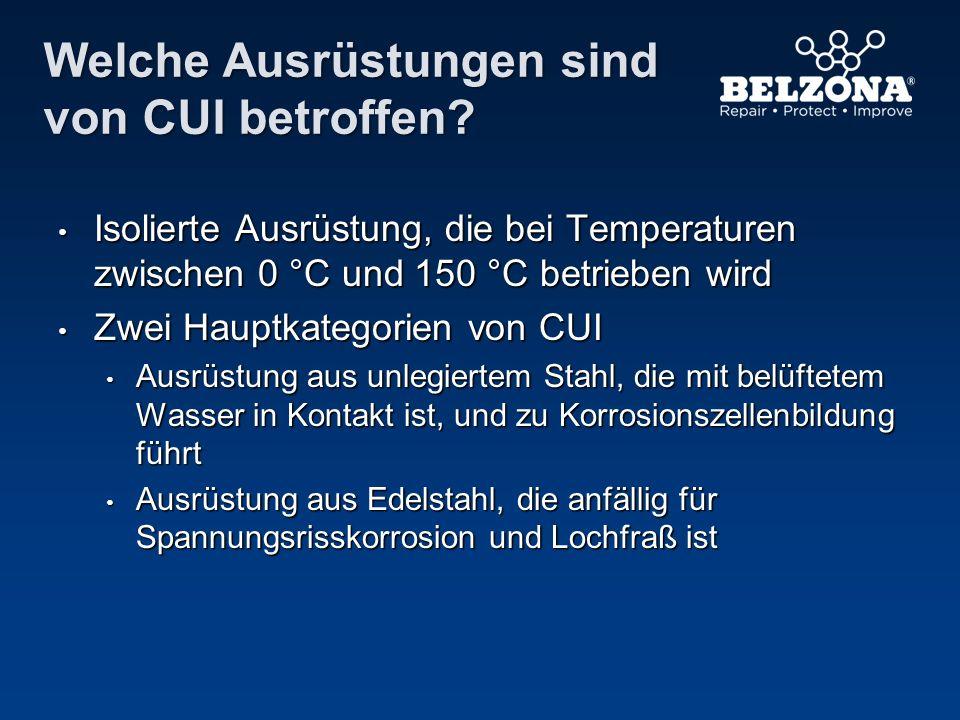 Welche Ausrüstungen sind von CUI betroffen? Isolierte Ausrüstung, die bei Temperaturen zwischen 0 °C und 150 °C betrieben wird Isolierte Ausrüstung, d