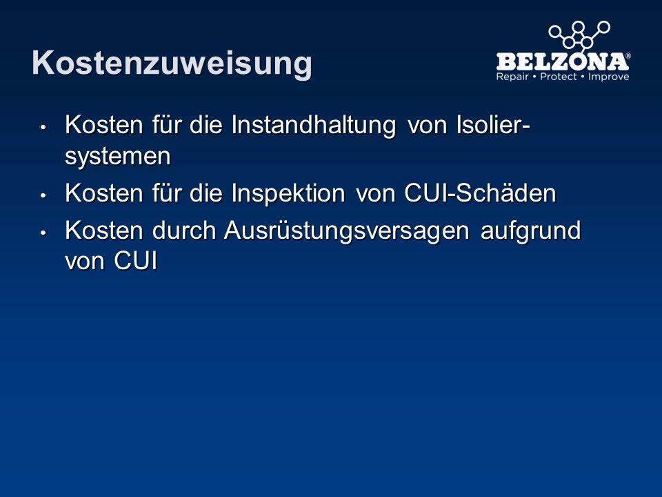 Kostenzuweisung Kosten für die Instandhaltung von Isolier- systemen Kosten für die Instandhaltung von Isolier- systemen Kosten für die Inspektion von