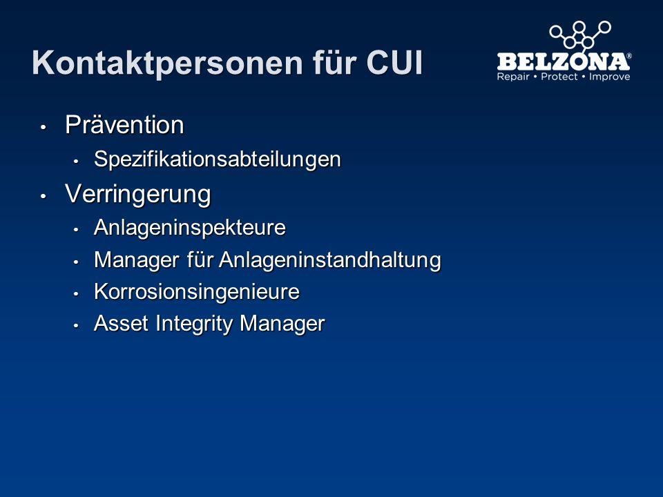 Kontaktpersonen für CUI Prävention Prävention Spezifikationsabteilungen Spezifikationsabteilungen Verringerung Verringerung Anlageninspekteure Anlagen