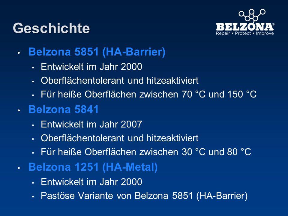 Geschichte Belzona 5851 (HA-Barrier) Entwickelt im Jahr 2000 Oberflächentolerant und hitzeaktiviert Für heiße Oberflächen zwischen 70 °C und 150 °C Be