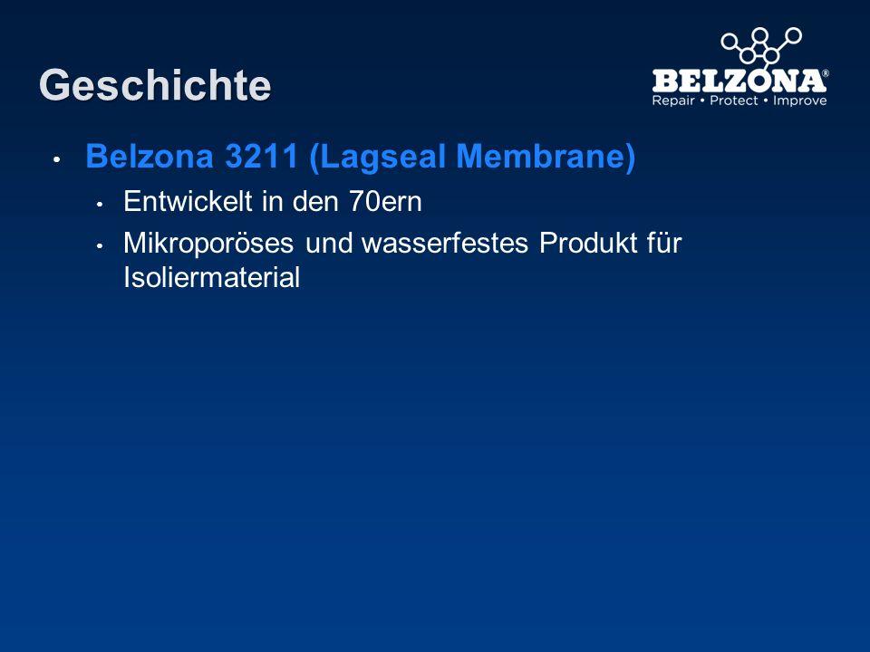 Geschichte Belzona 3211 (Lagseal Membrane) Entwickelt in den 70ern Mikroporöses und wasserfestes Produkt für Isoliermaterial