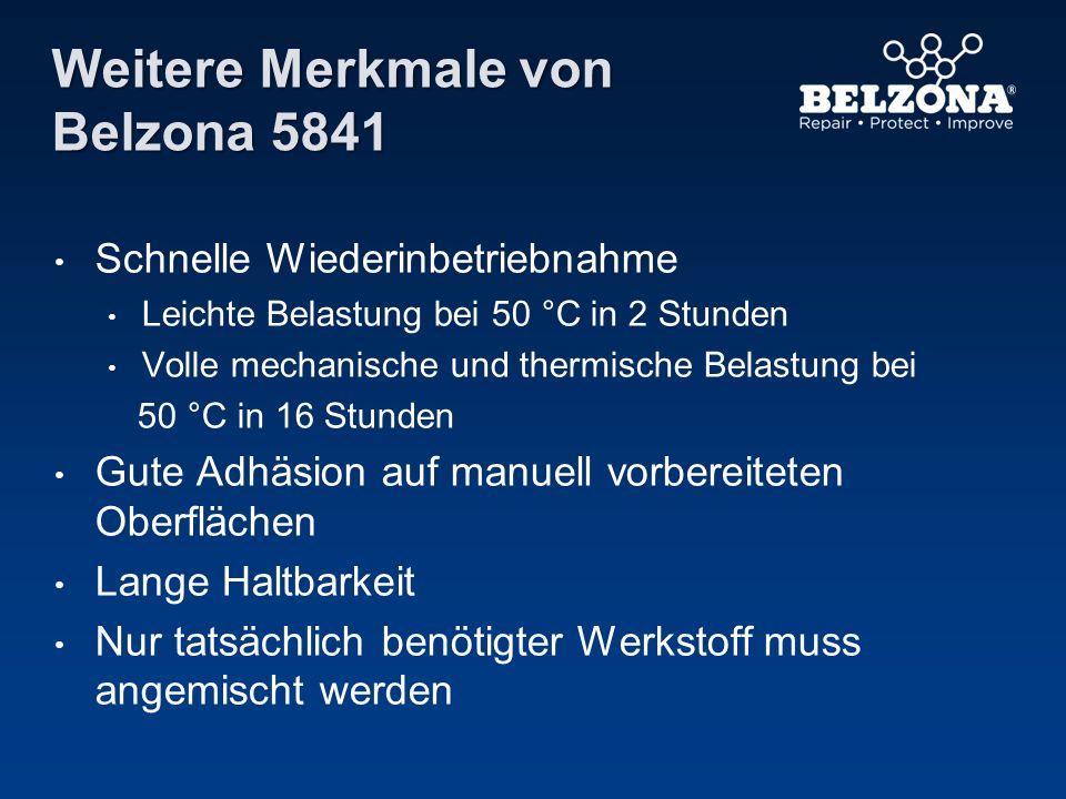 Weitere Merkmale von Belzona 5841 Schnelle Wiederinbetriebnahme Leichte Belastung bei 50 °C in 2 Stunden Volle mechanische und thermische Belastung be