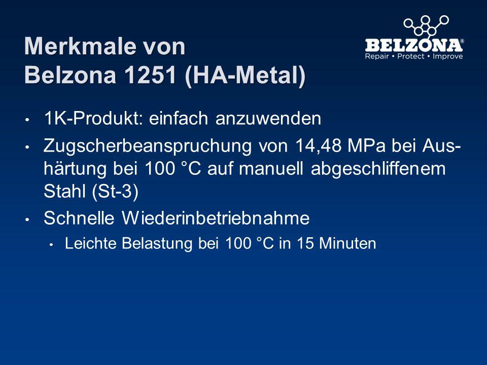 Merkmale von Belzona 1251 (HA-Metal) 1K-Produkt: einfach anzuwenden Zugscherbeanspruchung von 14,48 MPa bei Aus- härtung bei 100 °C auf manuell abgesc