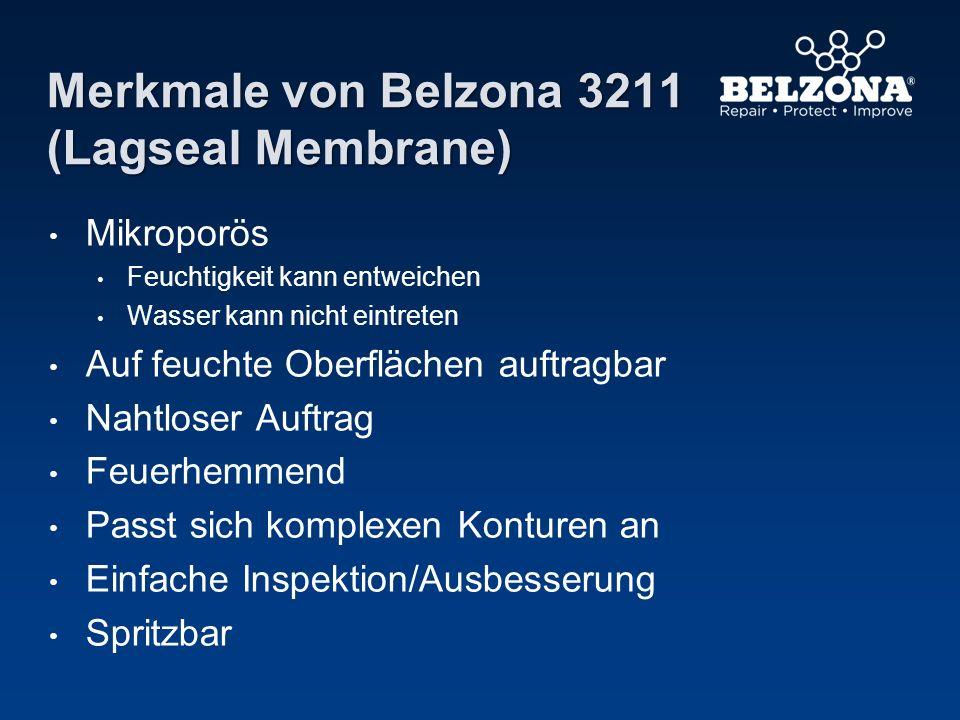 Merkmale von Belzona 3211 (Lagseal Membrane) Mikroporös Feuchtigkeit kann entweichen Wasser kann nicht eintreten Auf feuchte Oberflächen auftragbar Na