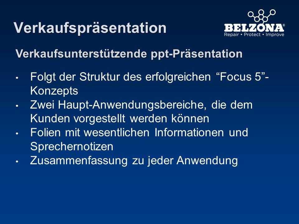Verkaufspräsentation Verkaufsunterstützende ppt-Präsentation Folgt der Struktur des erfolgreichen Focus 5- Konzepts Zwei Haupt-Anwendungsbereiche, die
