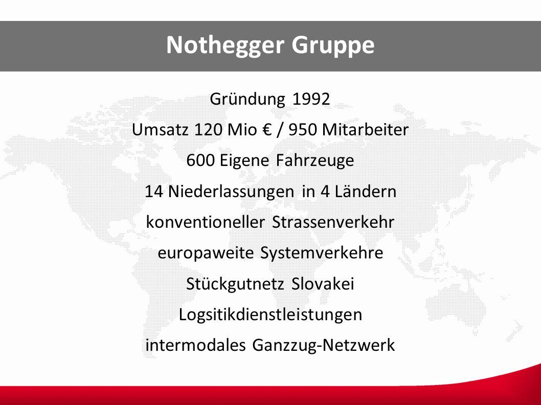 Nothegger Gruppe Gründung 1992 Umsatz 120 Mio / 950 Mitarbeiter 600 Eigene Fahrzeuge 14 Niederlassungen in 4 Ländern konventioneller Strassenverkehr e
