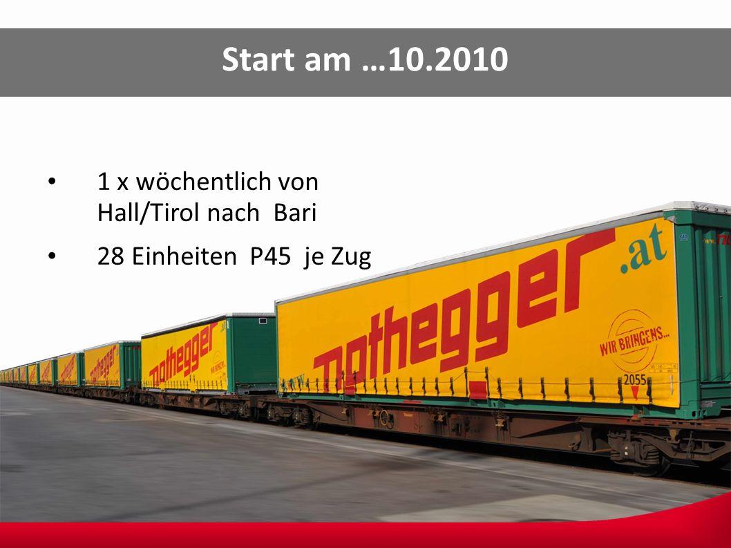 Start am …10.2010 1 x wöchentlich von Hall/Tirol nach Bari 28 Einheiten P45 je Zug