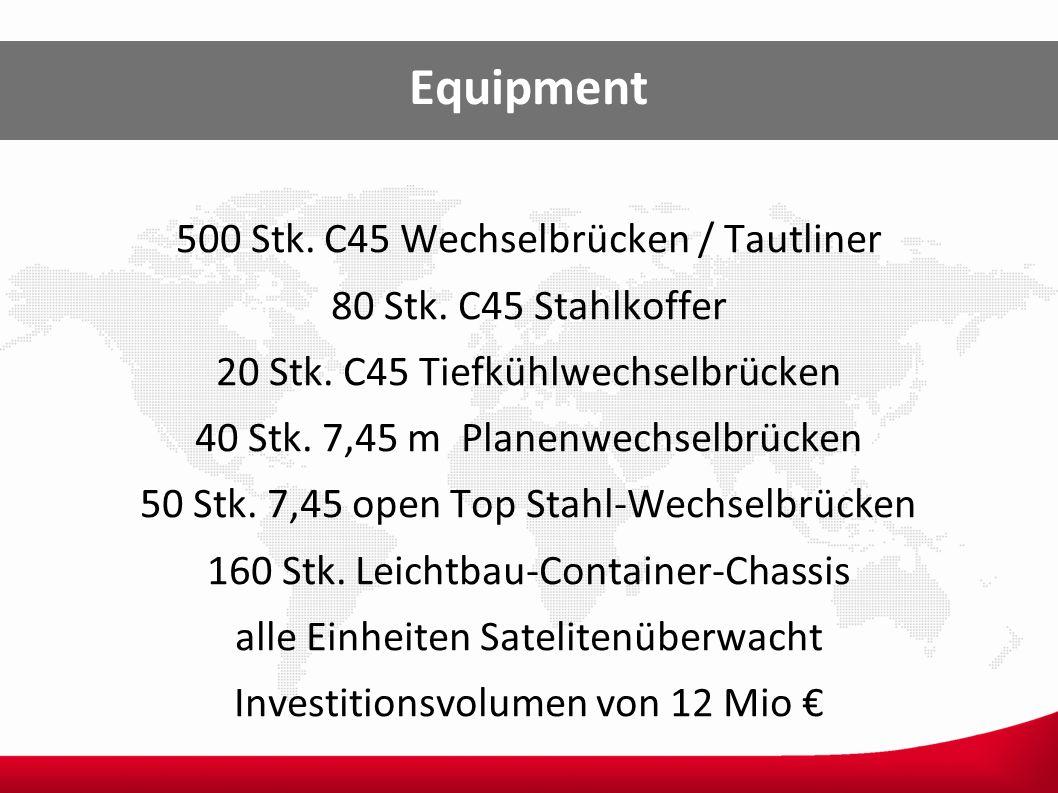 Equipment 500 Stk. C45 Wechselbrücken / Tautliner 80 Stk. C45 Stahlkoffer 20 Stk. C45 Tiefkühlwechselbrücken 40 Stk. 7,45 m Planenwechselbrücken 50 St