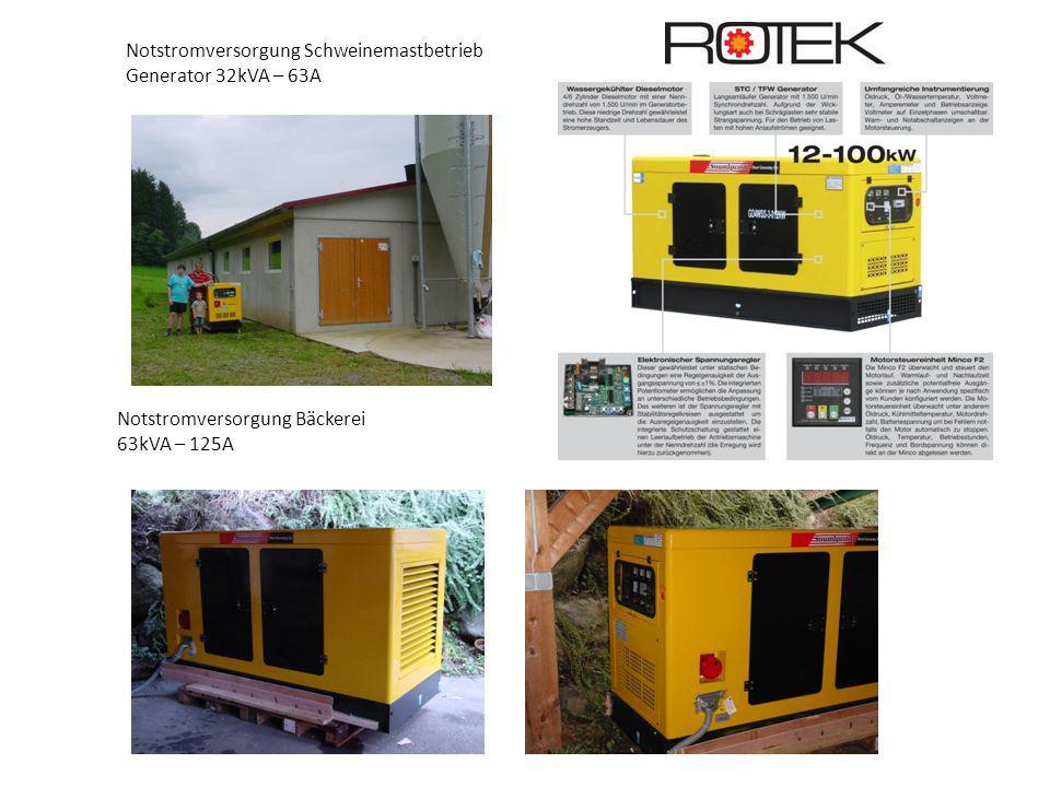 Notstromversorgung Schweinemastbetrieb Generator 32kVA – 63A Notstromversorgung Bäckerei 63kVA – 125A