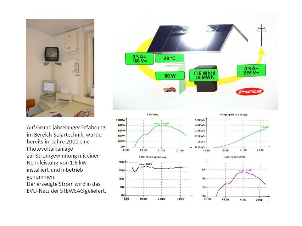 Auf Grund jahrelanger Erfahrung im Bereich Solartechnik, wurde bereits im Jahre 2001 eine Photovoltaikanlage zur Stromgewinnung mit einer Nennleistung