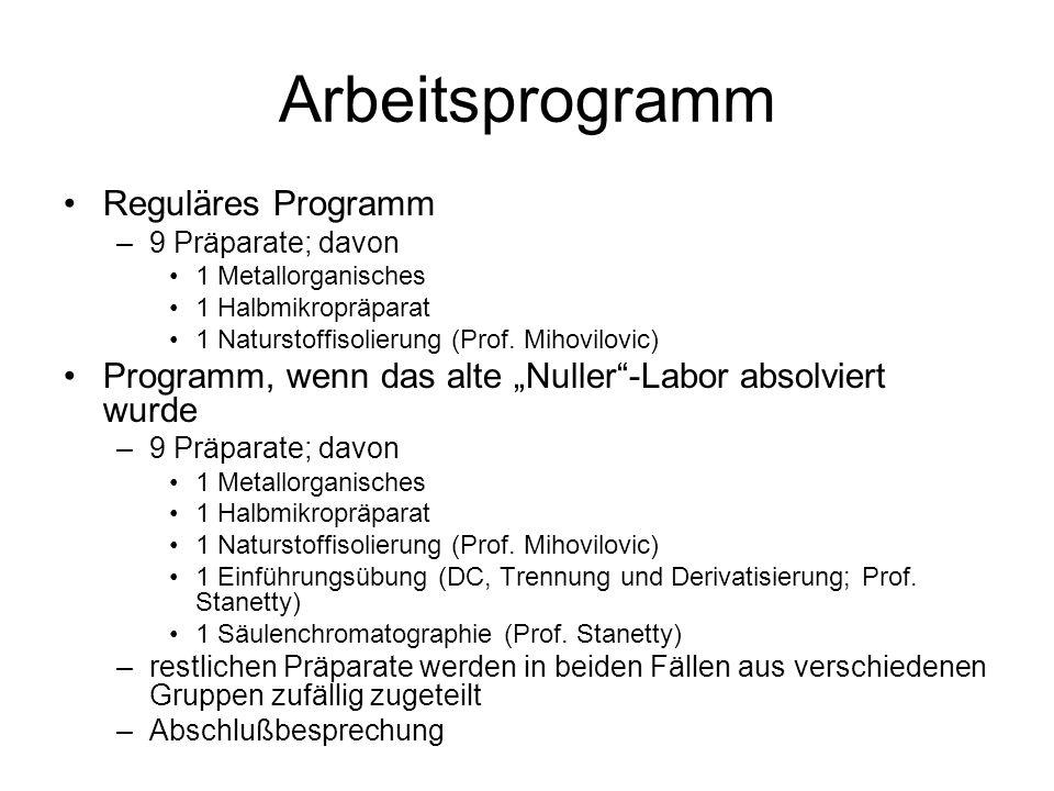 Arbeitsprogramm Reguläres Programm –9 Präparate; davon 1 Metallorganisches 1 Halbmikropräparat 1 Naturstoffisolierung (Prof. Mihovilovic) Programm, we