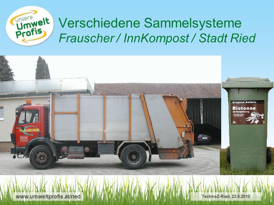 Verschiedene Sammelsysteme Frauscher / InnKompost / Stadt Ried www.umweltprofis.at/ried TechnoZ-Ried, 22.6.2010