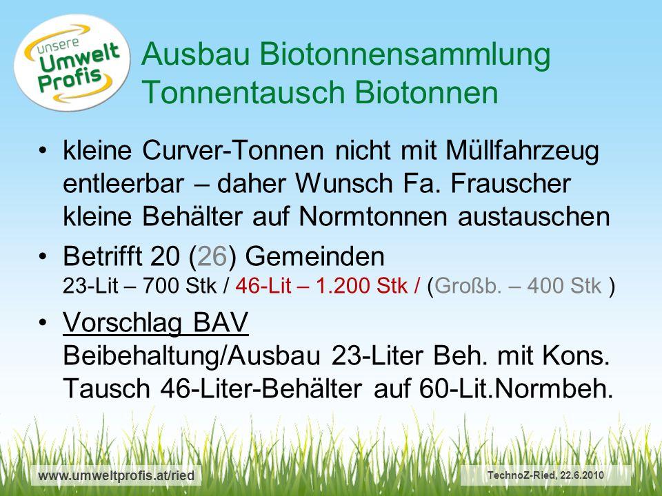 www.umweltprofis.at/ried TechnoZ-Ried, 22.6.2010 kleine Curver-Tonnen nicht mit Müllfahrzeug entleerbar – daher Wunsch Fa.