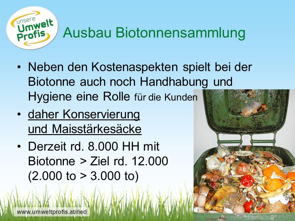 www.umweltprofis.at/ried Neben den Kostenaspekten spielt bei der Biotonne auch noch Handhabung und Hygiene eine Rolle für die Kunden daher Konservierung und Maisstärkesäcke Derzeit rd.
