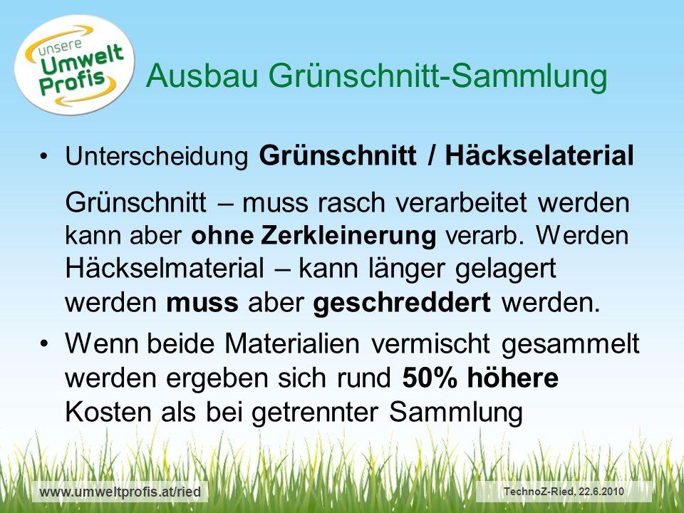 www.umweltprofis.at/ried Ausbau Grünschnitt-Sammlung TechnoZ-Ried, 22.6.2010 Unterscheidung Grünschnitt / Häckselaterial Grünschnitt – muss rasch verarbeitet werden kann aber ohne Zerkleinerung verarb.